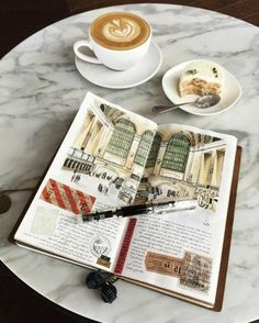 scrapbook layouts sketchbook with colorful drawing old travel tickets white coffee cup with latte a dessert plates pen marble table Voyage Sketchbook, Travel Sketchbook, Travel Tickets, Travel Maps, Travel Photos, Travel Ideas, White Coffee Cups, Travel Scrapbook, Scrapbook Layouts
