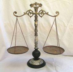 <([The Scales of Fate tip the balance of the chip of the person placed in the slot on the top. Can be used to great fortune- but the scales will always balance one day.])> RESERVED FOR NEALE Vintage Scale of Justice by TREASUREandSUCH Brass Wood, Wood And Metal, Symbole Justice, Justice Scale, Lady Justice, Scale Tattoo, Weighing Scale, Farmhouse Style Kitchen, Steampunk