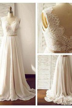 V-neck  Sleeveless Open Back Wedding Dress with Lace Sash PG 200 - Pgmdress