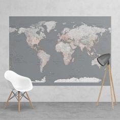 Fotobehang Silver World Map