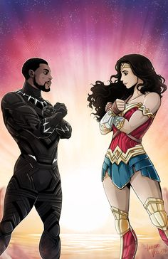"lucianovecchio: ""Empowering Heroes - Black Panther and Wonder Woman """