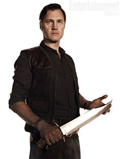 The Governor (David Morrissey)  Unlike the comic-book version of the character, a barbaric brute who chopped off Rick's hand for jollies, the Governor is at first glance more seductive than sadistic. ''He assumes a position of power, which is almost religious in a way,'' says Morrissey...but ''I don't think he gets to the position he's in without having a ruthless nature.'' #thewalkingdead