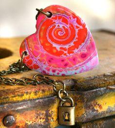 Healing Heart Swirl Necklace in Neon Pink by purplecactusstudios
