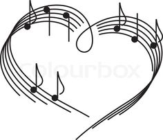 Stock vector ✓ 10 M images ✓ High quality images for web & print | Music of love. The heart of the music camp with notes.