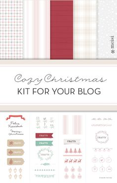 Cozy Christmas kit. Elements for your blog. #blog #design #kit #Christmas #download