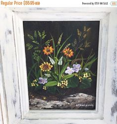 Original Floral Painting Vintage Canvas Old Oil Painting Signed Art Work wildflowers distressed white wood frame by StudioVintage on Etsy