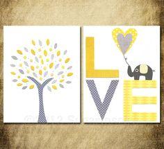 Elephant Nursery, Nursery Art Print Set, Kids Room Decor, Baby / Children Wall Art - Yellow and grey, Love art, baby elephant. $27.95, via Etsy.