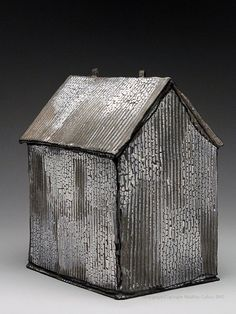 Mary Fischer Plain Grey House Sculpture at MudFire Gallery Clay Houses, Ceramic Houses, Miniature Houses, Bird Houses, Ceramic Studio, Ceramic Clay, Ceramic Pottery, Kitsch, Pottery Houses
