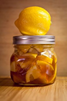 For a sore throat - cut up 2 lemons, drop them in a small mason jar and pour raw honey over them until it fills up about 1/3 of the jar. You can immediately see the juice from the lemon being drawn out by the honey and the two swirling together. Let it sit in the fridge, over the next few weeks the lemon will darken and the mixture will thicken. The peels and pulp will break down as well and leave behind a golden, lumpy marmalade that you can scoop into a cup and poor piping hot water over