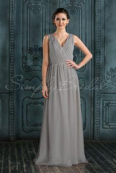 #85238 - Floor Length V-Neck Sleeveless Chiffon Dress