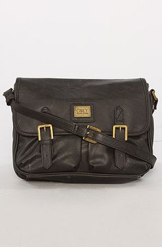 The Night Owl Messenger Bag in Black PU Leather by Obey