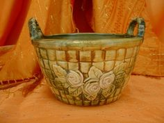 Vintage Quality WELLER CERAMIC BASKET Roses Handled PLANTER Art Pottery BOWL in Pottery & Glass, Pottery & China, Art Pottery | eBay