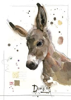 Donkey by jane crowther for bug art greeting cards. Watercolor Pictures, Watercolor Bird, Watercolor Animals, Watercolor Paintings, Watercolours, Animal Sketches, Animal Drawings, Illustrations, Illustration Art