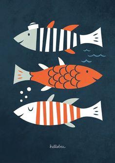 Fish Drawings, Fish Art, Painted Rocks, Illustrators, Watercolor Art, Art For Kids, Modern Art, Art Projects, Street Art