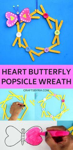 Paper heart butterfly craft on popsicle stick wreath - Crafts By RiaMake this pretty popsicle wreath with an adorable heart butterfly craft on Valentine's day. Comes with free printable for kids. Perfect to teach the Easy Valentine Crafts, Valentines Day Activities, Valentines Games, Valentine's Day Crafts For Kids, Craft Activities For Kids, Shape Activities, Learning Activities, Stick Wreath, Fathersday Crafts