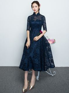 Blue Lace Qipao / Cheongsam Dress with Full Skirt