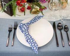 Indigo Santa Fe blue and white patterned napkin on a Spa Linnea light blue linen.
