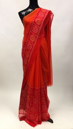 Bandhani Saree - Orange