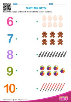 Free maths match numbers for preschool with printable, kids will be able to count the objects and match them with the correct numbers. Shape Worksheets For Preschool, Numbers Preschool, Kindergarten Math Worksheets, Preschool Learning Activities, Preschool Math, Kids Worksheets, Maternelle Grande Section, Free Math, Math For Kids