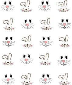 Bunny Faces Waterslide Nail Decals / Nail Shaping Haircuts for . - Bunny Faces Waterslide Nail Decals / Haircuts for every face, make-up for every sausage skin, again - Bunny Crafts, Easter Crafts, Crafts For Kids, Art Crafts, Easter Decor, Easter Ideas, Easter Drawings, Star Nail Art, Face Template