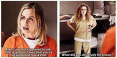 """When she studied for prison. 