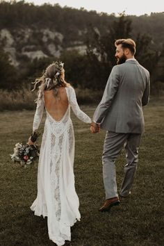Boho Wedding Dresses with Long Sleeves | Boho Wedding Dress with Sleeves Lace | Wedding Veils with Hair Down | Grace Loves Lace Signature Looks and Bohemian Inspiration | Inca Dress by Grace Loves Lace