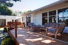 the large deck is the perfect place to relax in the shade.