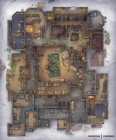 Dnd World Map, Grimgar, Fantasy City Map, Building Map, Rpg Map, Dungeon Maps, Dungeon Tiles, Dungeons And Dragons Homebrew, Dungeons And Dragons Art
