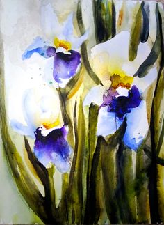 "Saatchi Online Artist: Karin Johannesson; Watercolor 2013 Painting ""Irises V"""
