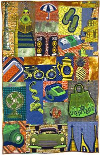 'Packing List for the Fabric Hunter' (2011) quilt by English art quilter, author & entrepreneur Magie Relph. African wax prints. via The African Fabric Shop : Textiles, beads and inspiration from Africa