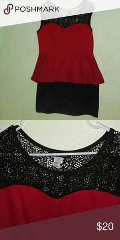 Dress Red and black  top lace worn twice very tiny snag shown in photo on the left breast heart 2 Heart Dresses Midi