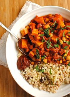Tunisian Chickpea and Vegetable Tagine with Apricot Couscous