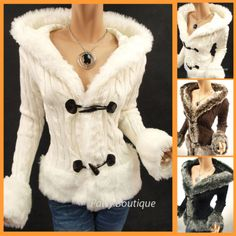 Russian Faux Fur Trim Hooded Cardigan Sweater Jacket | eBay