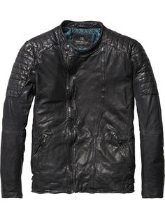 Added to the wardrobe: Leather Biker Jacket | Leather Jackets | Men's Clothing at Scotch & Soda
