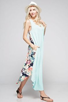 The Lovely Floral- It has pockets!  The Lovely Floral is a beautiful mixed media, maxi length, dress perfect for spring or summer.