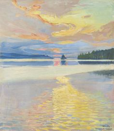"Akseli Gallen-Kallela (1865 - 1931) - ""Sunset over Lake Ruovesi"", oil on canvas 45.2 by 40.5cm."