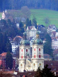 St. Gallen Cathedral and the old city -- St. Gallen is the capital of the canton of St. Gallen in Switzerland. It evolved from the hermitage of Saint Gall, founded in the 7th century.