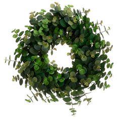 "20"" Silk Eucalyptus Hanging Wreath -Green (case of 2)"