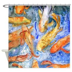 Koi Olympiad Bathroom Shower Curtain on CafePress.com