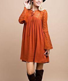 Look at this #zulilyfind! Rust Floral Mesh-Panel Peasant Dress #zulilyfinds