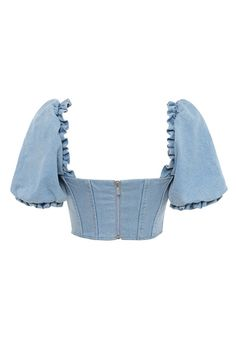 'Lulette' celebrates our current favourite features, puff sleeves and slightly vintage vibes. It is cut from a pretty light blue denim and has puff sleeves that can also be dropped off shoulder. Kpop Fashion Outfits, Girls Fashion Clothes, Stage Outfits, Mode Outfits, Denim Fashion, Crop Top Outfits, Cute Casual Outfits, Denim Top Outfit, Fashionable Outfits
