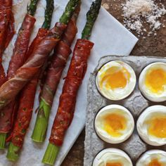 Asparagus Soldiers and soft boiled eggs Made for Easter brunch. Having help to wrap would have been nice but fancy without being extravagant.