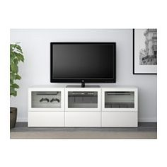BESTA TV UNIT $399 ⭐️  High gloss white / clear\frosted glass