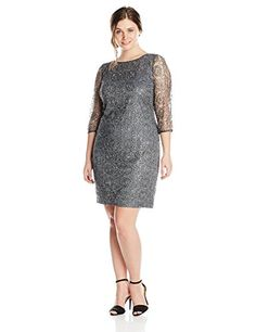 Fashion Bug Womens Plus Size Metallic Lace Dress with Sequins www.fashionbug.us #PlusSize #FashionBug #Dress