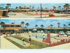 Unused 1950s Old Cars Rip Van Winkle Motel Daytona Beach Florida Fl U6240