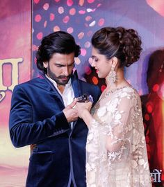 Ranveer Singh with Deepika Padukone at the first look launch of 'Ram Leela' #Bollywood #Style #Fashion
