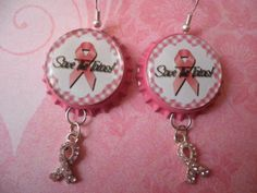 Save The Tatas Pink Ribbon Bottlecap Earrings by JRCsJEWELRY, $8.25