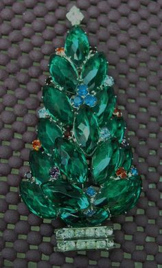 This is a fabulous Couture Christmas tree pin by contemporarygems, $370.00