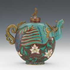 Chinese Cloisonne Enamel Phoenix Teapot, ca. Late Qing Dynasty/Republic Period