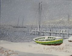 Vineyard Haven Harbor Snowstorm I. 11 x 14 oil on canvas board. #marthasvineyard #Vineyardhaven #harbor #winter #snow #dock http://www.jackmckenzieart.blogspot.com/2016/02/new-painting-vineyard-haven-harbor.html